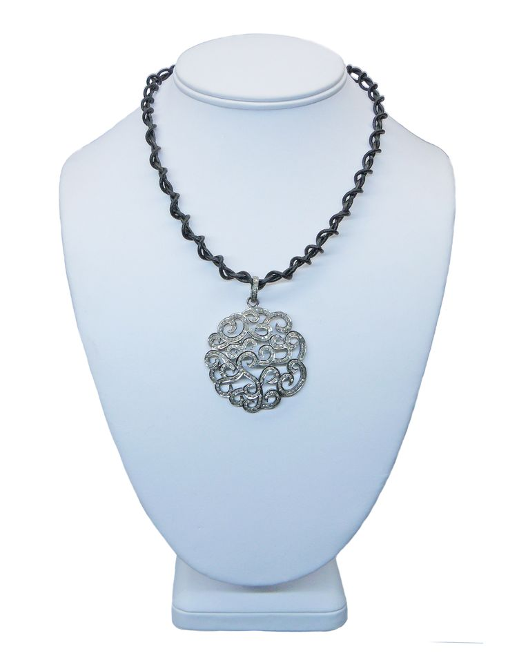 Coiled Black #Leather #Necklace with #Silver #PaveDiamond #Pendant. #Gempacked