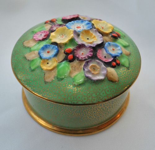 ART DECO TUSCAN PLANT CHINA TRINKET BOX / POWDER BOWL HAND PAINTED | eBay