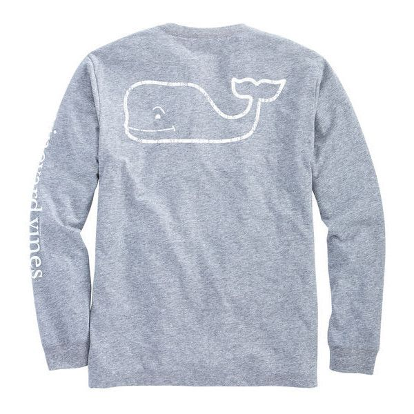 Shop Long-Sleeve Vintage Whale Heater Pocket T-Shirt at vineyard vines ($48) ❤ liked on Polyvore featuring tops, t-shirts, blue cotton t shirts, vintage t shirts, long sleeve cotton t shirts, pocket tees and cotton pocket t shirts