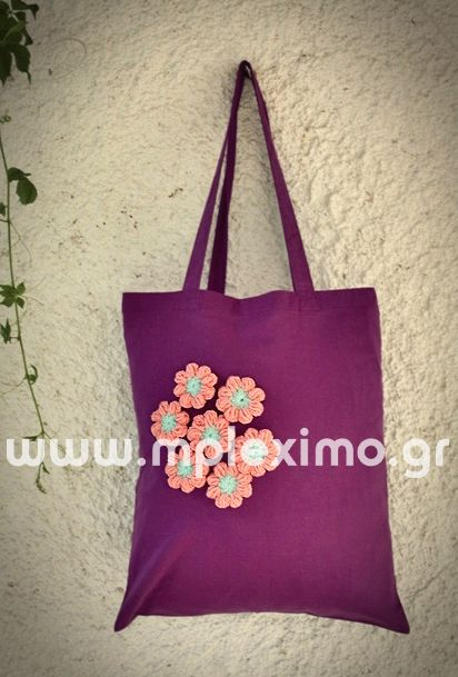 cotton tote bag, embellished with crochet flowers, from mpleximo.gr