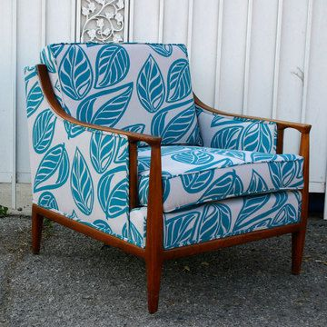 My kind of Hawaiian decor.  A little bit of mid century modern, reupholstered in graphic, happy prints.  Love.  henry road armchair