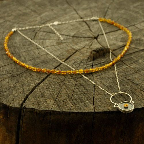 Orange: ZEN  two-sided necklace artistic  with cognac by Ankanate