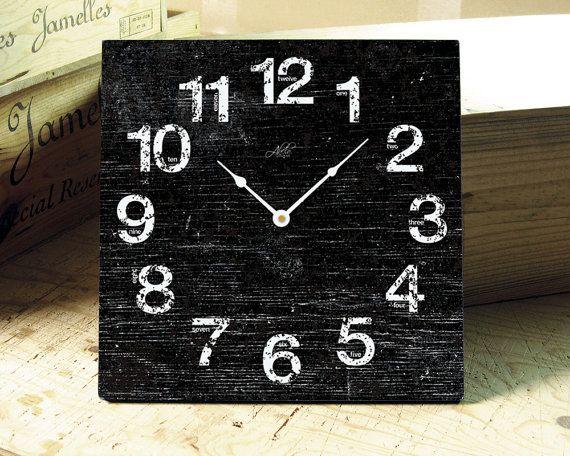 LONDON BLACK  8in Square Wall Clock in Black  by AbeloClocks, $29.00