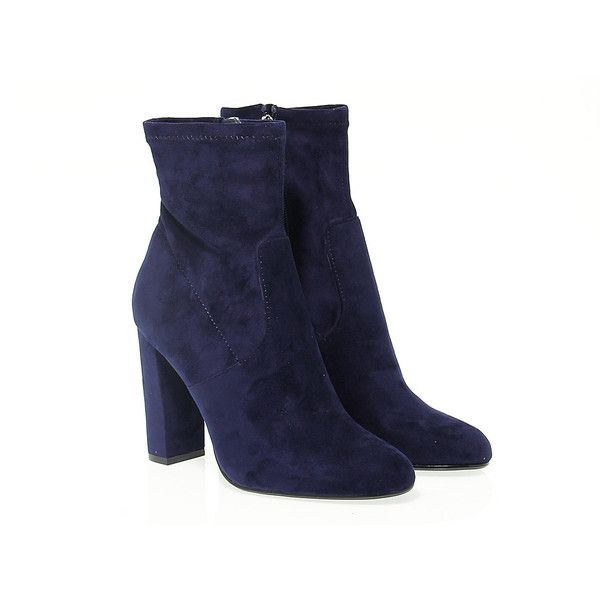 Steve Madden Ankle Boots (4.310 RUB) ❤ liked on Polyvore featuring shoes, boots, ankle booties, suede bootie, high heel booties, navy ankle boots, suede booties and navy suede booties