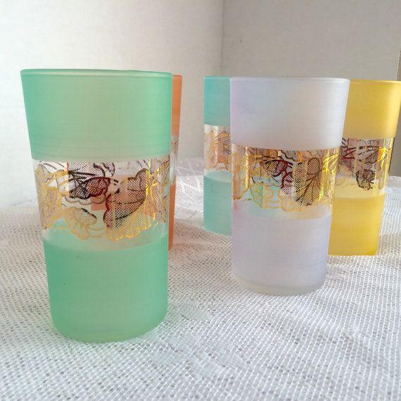 Vintage Mid Century Modern Cocktail Glasses / Pastel Yellow