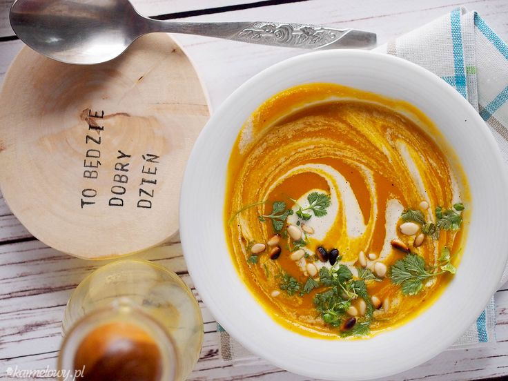 Curried Sweet Potato, Carrot and Pumpkin Soup with Pine Nut Cream and Cilantro