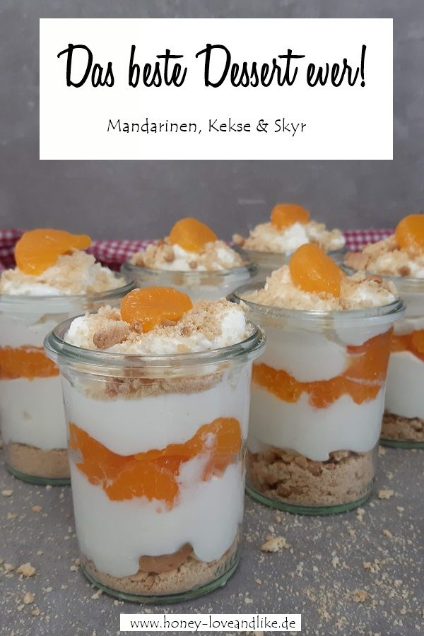 Super fast layered dessert with tangerines and biscuit crumbs