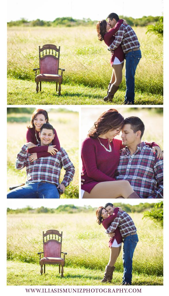 Iliasis Muniz Photography | Holiday  Holiday photos, christmas photos couple, couple poses for the holidays, fall outfits, holiday outfits for couples, engagement poses, posing ideas for two, fall engagement photos, maroon outfits for couples, south padre island, tx, laguna vista, tx, It's Vintage Darling, vintage blush chair, vintage photo shoot, vintage engagement photo shoot, engagement photography, merry christmas couples photos shoot, fall couples photo shoot.