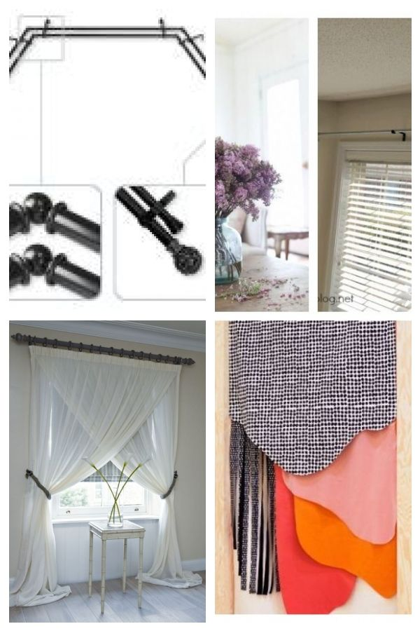 Rod Desyne Adora 13 16 In Bay Window Double Curtain Rod In Black Abay 16 2d The Home Depot Netcurtai Bay Window Curtains Double Rod Curtains Cool Curtains