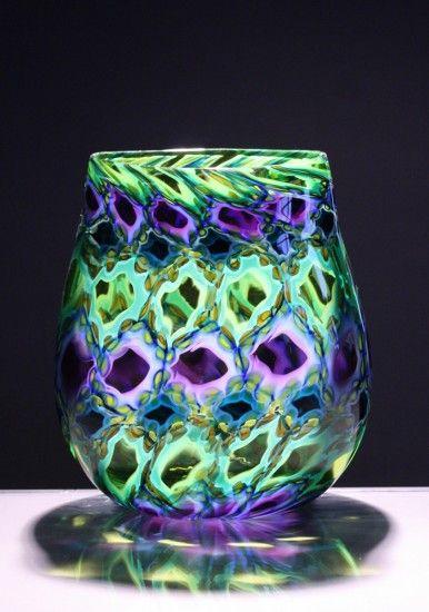 "Jeremy Popelka, BATANG PATTERN, Handblown Murrini Glass, 9 1/2 x 8 x 4"""