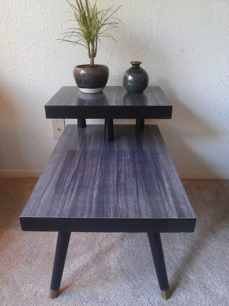 Mid Century Two Tiered Black End Table, Formica Top. $50.00, Via Etsy