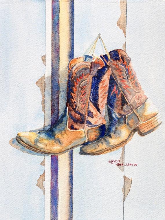 Art, watercolor painting,Cowboy Boots Art Print, Western Painting, Watercolor, by Deb Harclerode Fine Art. $14.95, via Etsy.