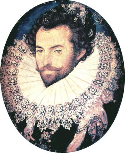 Walter Raleigh by Hilliard an Anglo French Huguenot  According to his own account in History of the World (1614) he served served as a volunteer in France with the Huguenot armies during the wars of religion