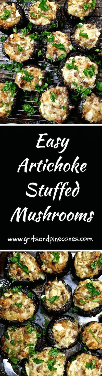 Artichoke Stuffed Mushrooms are a delicious snack for a Super Bowl party, an easy game day snack or really a perfect appetizer for any party! via @http://www.pinterest.com/gritspinecones/