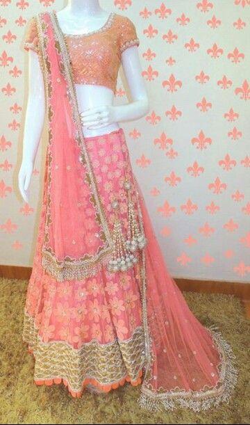 Pink floral lehenga...varija design studio