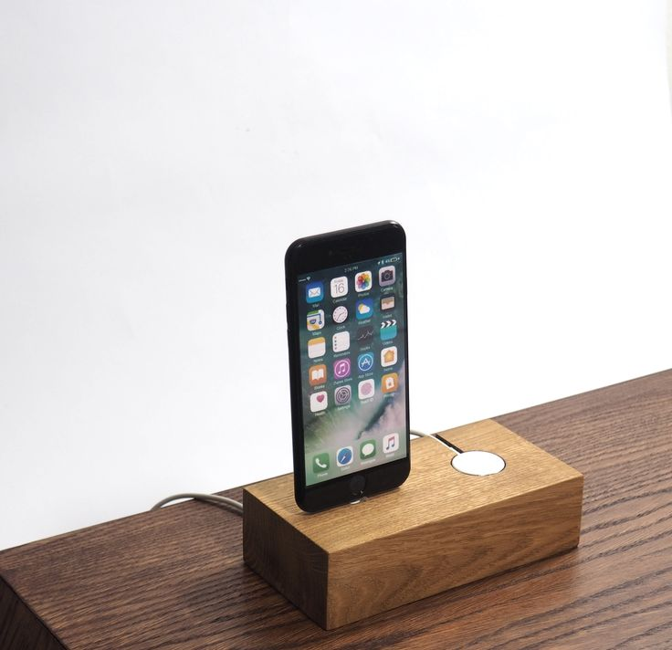 Minimal wooden charging station for iphone and apple watch