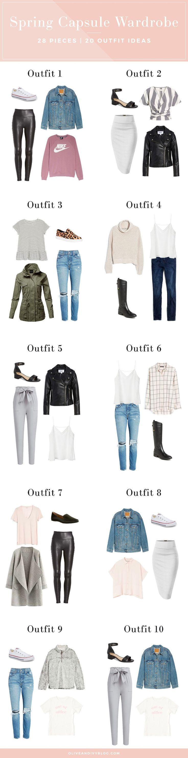 CLICK to view the full casual chic spring capsule wardrobe and 10 more outfit ideas!