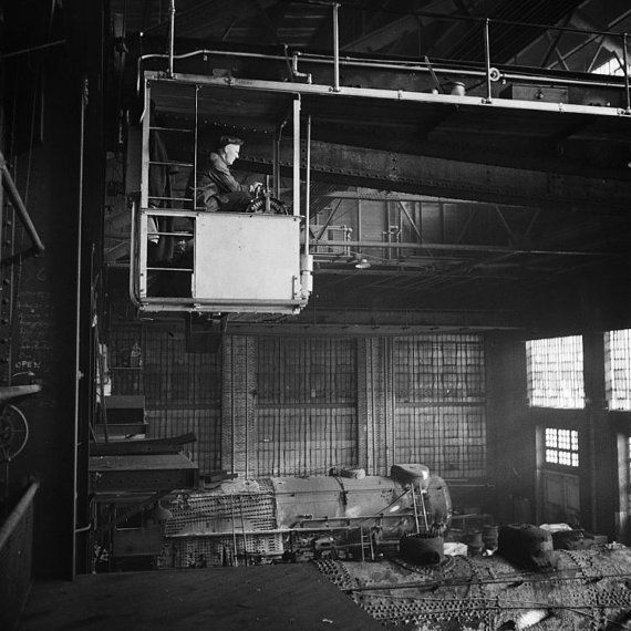 New item in my etsy shopCrane operator in C&NW repair shed Chicago 1943. by PanchromaticaDesigns. Find it here http://ift.tt/2a3Sq3F
