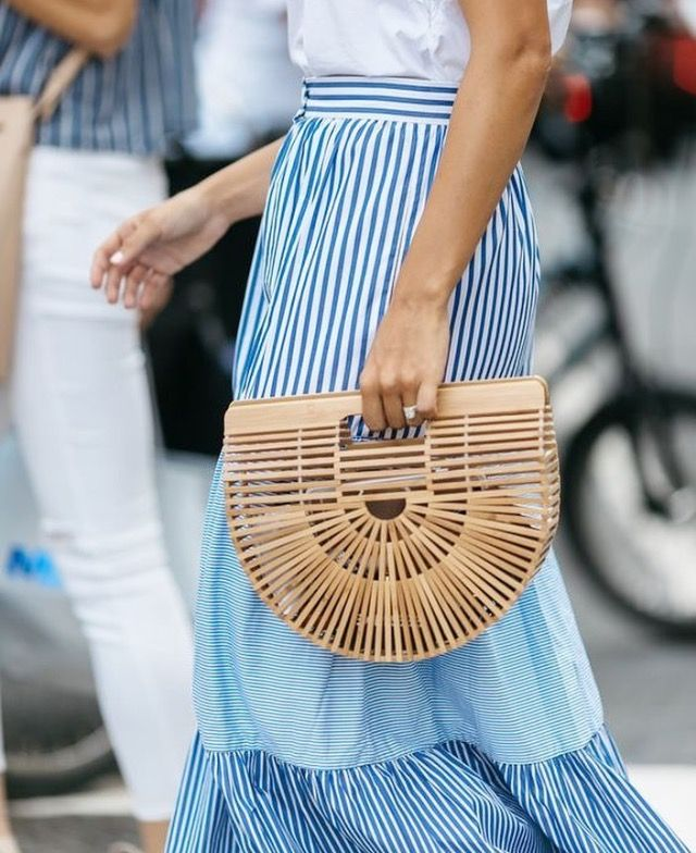 A smaller straw bag creates a more relaxed look for the day. www.stylestaples.com.au