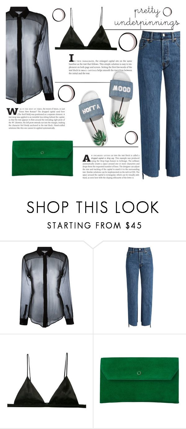 """""""Pretty Underpinnings"""" by katerin4e-d ❤ liked on Polyvore featuring Yves Saint Laurent, Vetements, L.K.Bennett and Joshua's"""