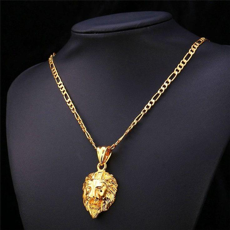 Lion Head charm pendant 18k gold black stainless steel lion head necklace for men