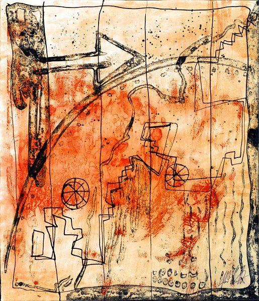 Bildname: Himmelsleiter / Material: Tusche auf Zeichenkarton, 44 cm x 37,5 cm / Reinhard Schäffler