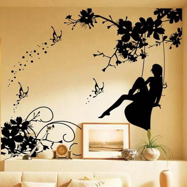 силуэты рисунок на стене кухни