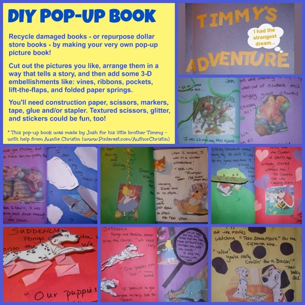 Kids Craft Diy Pop Up Book Recycle Damaged Or Dollar Store Books By