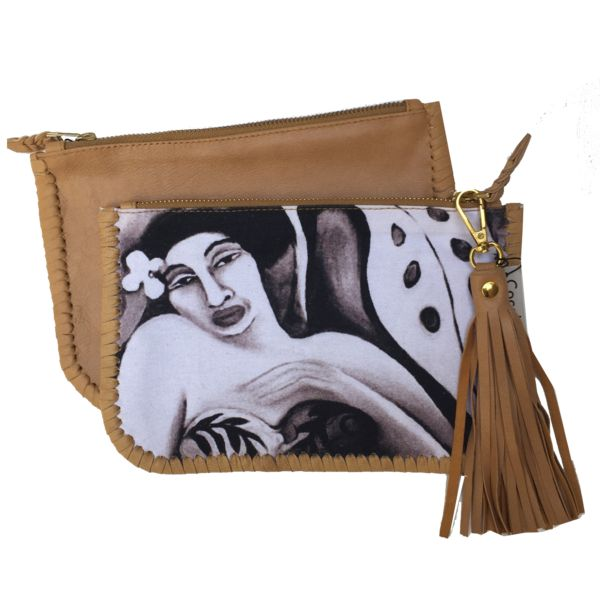 Wahine canvas & leather clutch