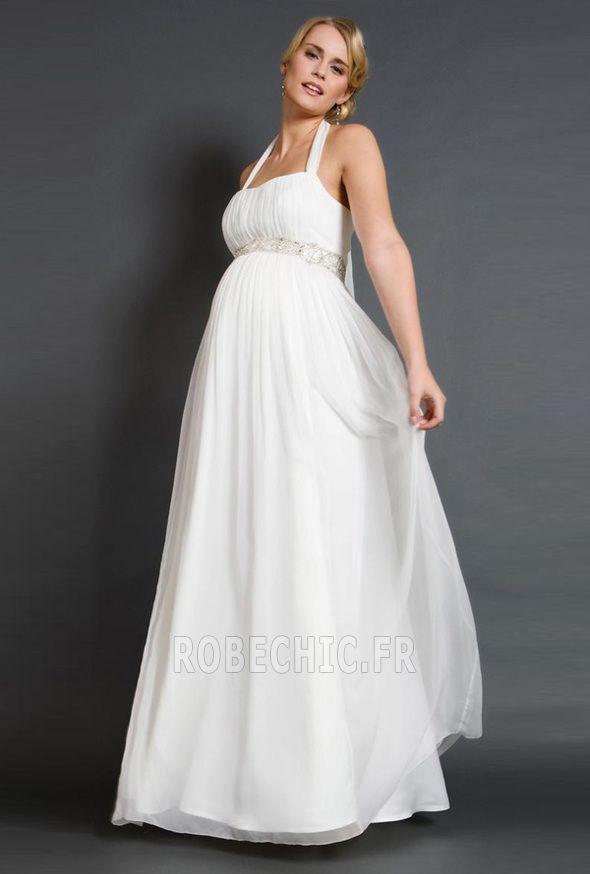 Robe de mariée Simple crêper Empire Milieu Sans Manches Organza