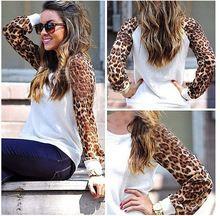 O envio gratuito de 2015 mulheres Sweater primavera outono de manga longa leopardo Casual blusas Patchwork Chiffon pulôver de malha Top DF-210(China (Mainland))