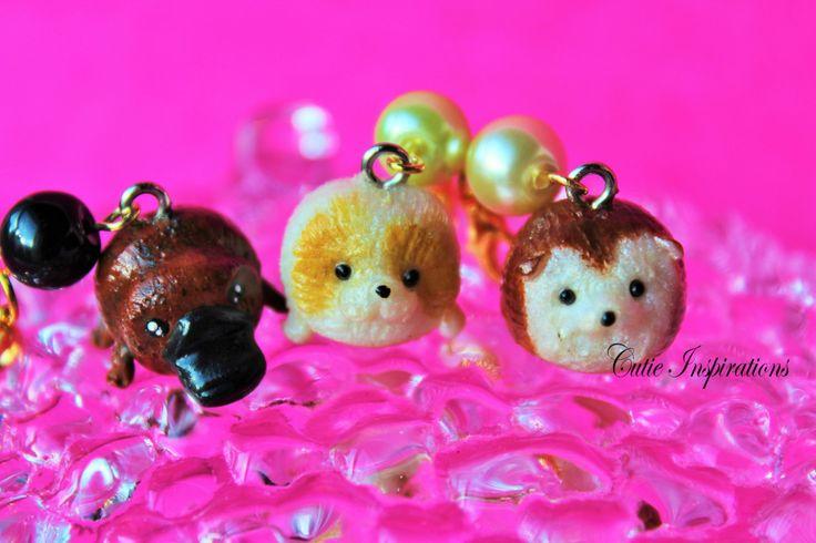 Cute animal key chain/ key fob, polymer clay charm, polymer clay jewelry, clay charm, kawaii charm, kawaii jewelry, dog, platypus, hedgehog by CutieInspirations on Etsy