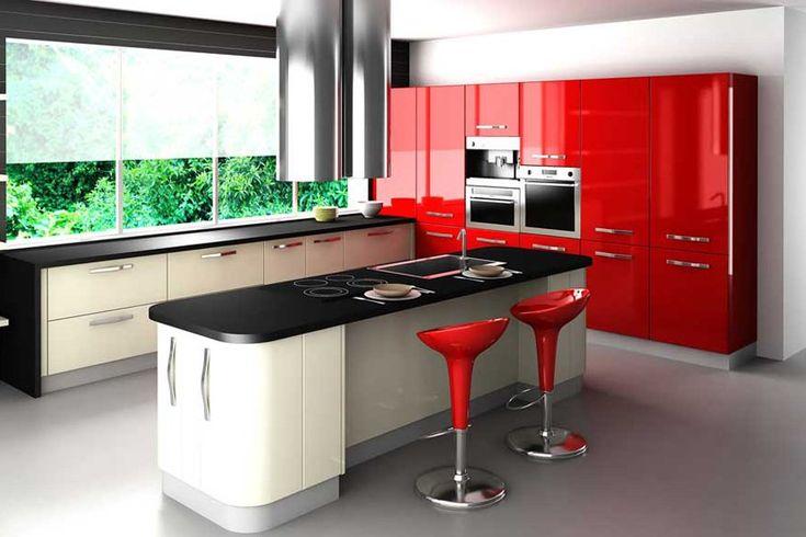 decoracion de cocina en rojo, blanco y negro