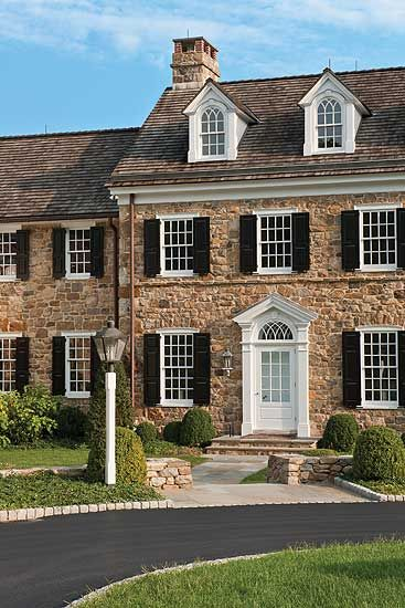 A New Pennsylvania Stone House With Traditional Front Entrance