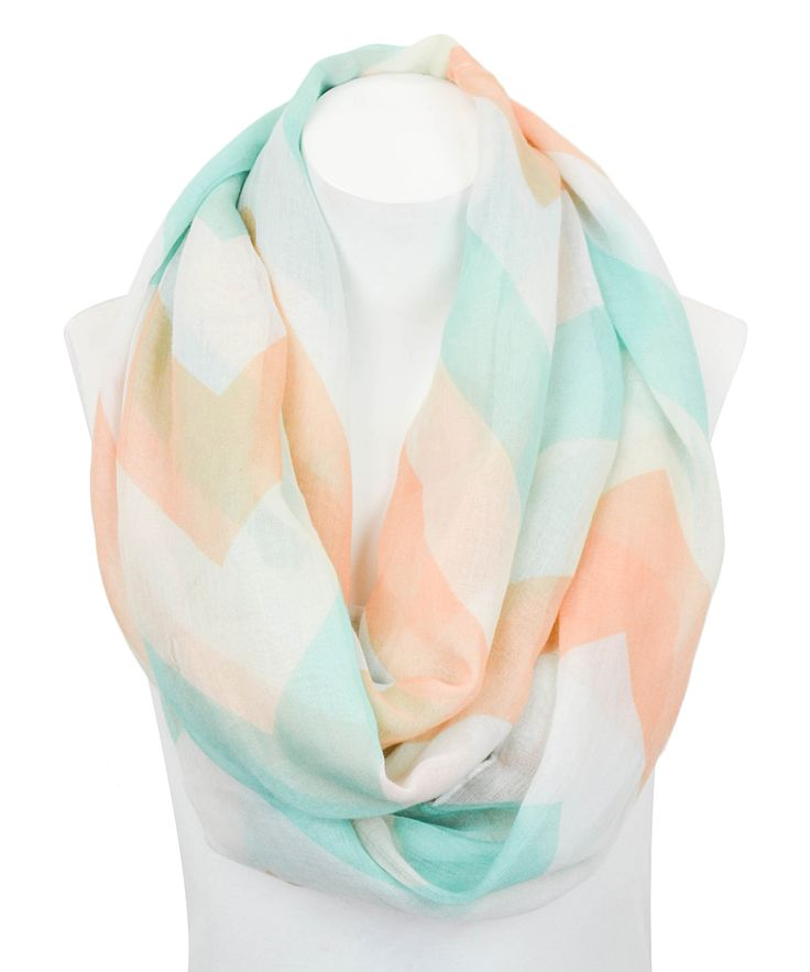 Mint & Peach Chevron Infinity Scarf.