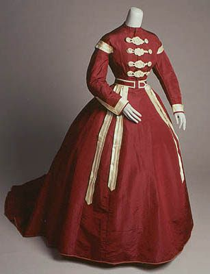 """""""Wedding Dress Silk faille and satin, wool flannel, swan's down American, 1868   This dress and jacket were the wedding ensemble worn by Louise Gertrude Jacobs when she married Harry G. Reyner, September 17, 1868 in Macon, Missouri. The dress and jacket have multiple cord and knot closures known as frogs. Decorative braiding is a common decoration on military uniforms and as used on this gown may reflect a residual influence from the Civil War.  San Diego History Center"""""""