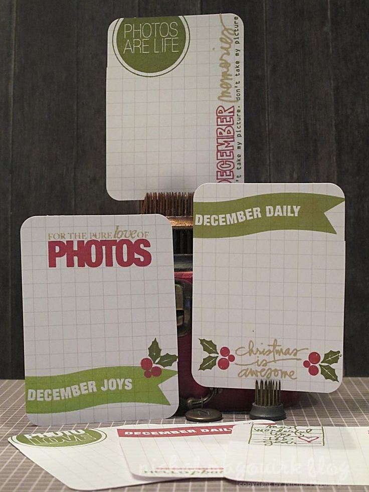 Incredible set of journaling cards for a December Daily or Project Life style scrapbook from Nichol Magouirk. All the stamps on here are from TechniqueTuesday.com. #decdaily