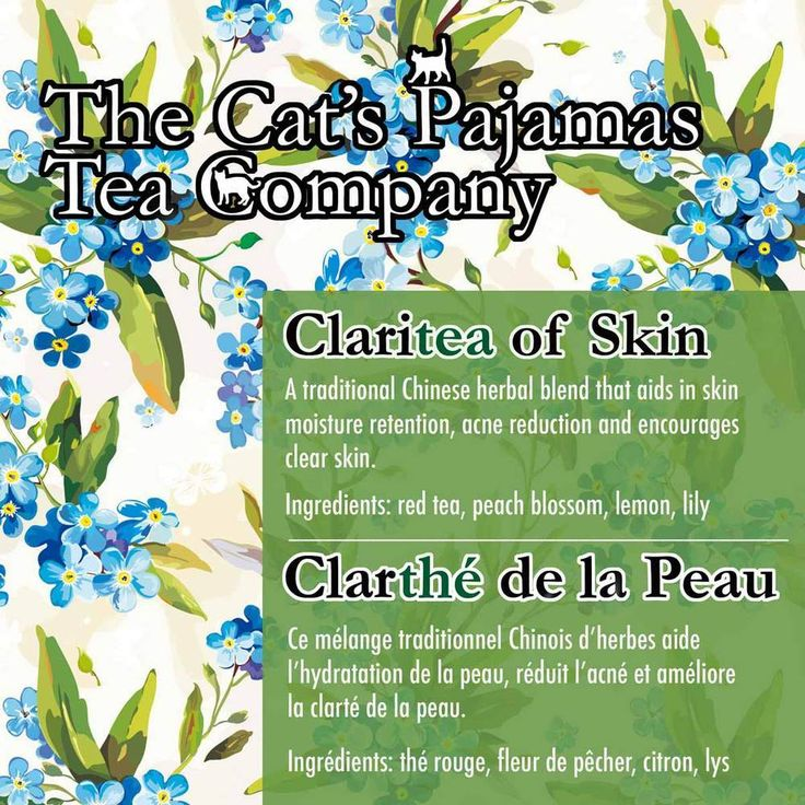 Claritea of Skin  A traditional Chinese herbal blend that aids in skin  moisture retention, acne reduction and encourages  clear skin.    Ingredients: red tea, peach blossom, lemon , lily