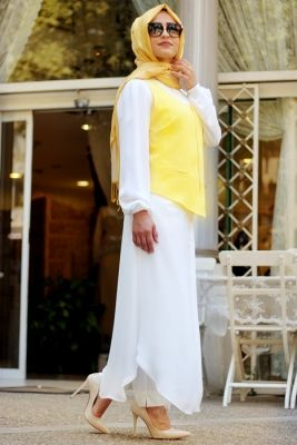 Sema Şimşek Sarı Yelekli Tesettür Tunik