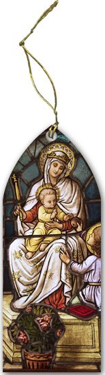 Madonna with Child Stained Glass Wood Ornament - Catholic to the Max - Online Catholic Store