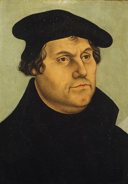Martin Luther, father of Christianity's Protestant Reformation.  Painted c. 1532 in the workshop of Lucas Cranach the Elder in Dresden.  Metropolitan Museum of Art, NYC.