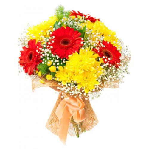 This lovely bouquet of yellow chrysanthemum and red gerberas bunch in special packing can make your mother happy.  Send mix flowers bouquet which is perfect gift for your Mother. #gerbera #chrysanthemum #beautiful #flowers #sendonlineflowers #bloomsonly #pune