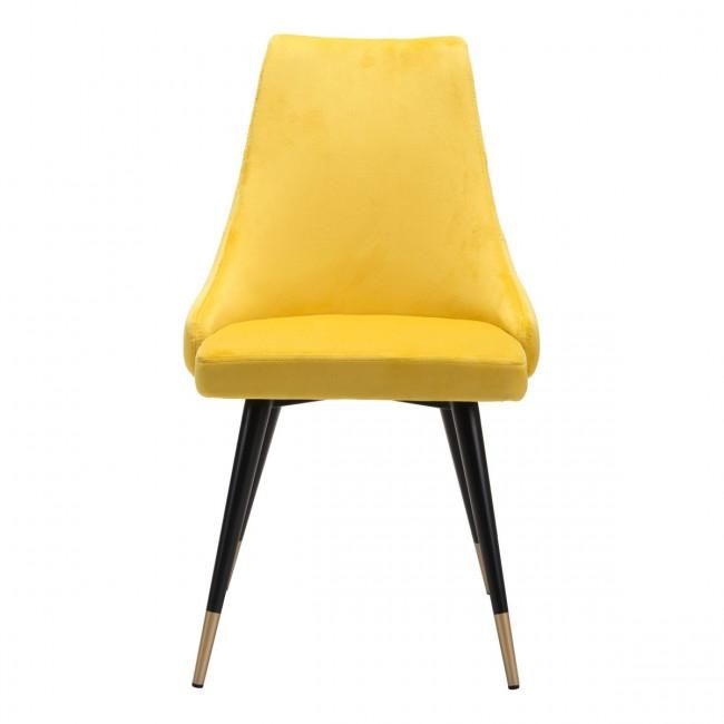 Chic Guest Or Conference Chair In Yellow Velvet Set Of 2