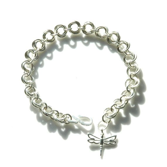 Sterling Silver Rosette Chainmaille Bracelet by FionaKDesigns #handmade