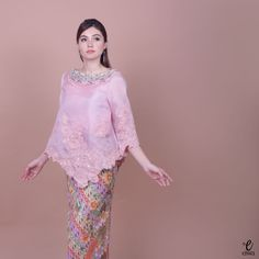 Kebaya Indonesia modern high low - hi low lace brokat organdi organdy organza embellished embroidery long sleeve hijab muslim baju bodo IG : @eiwaonline