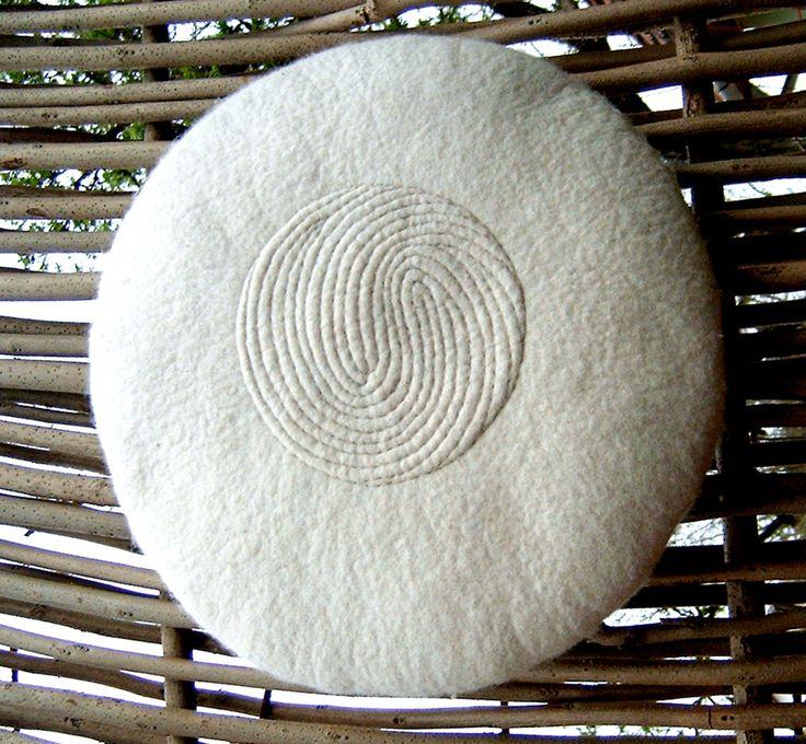 'Fingerprint' - Relief quilted felt cushion by Vanda Robert