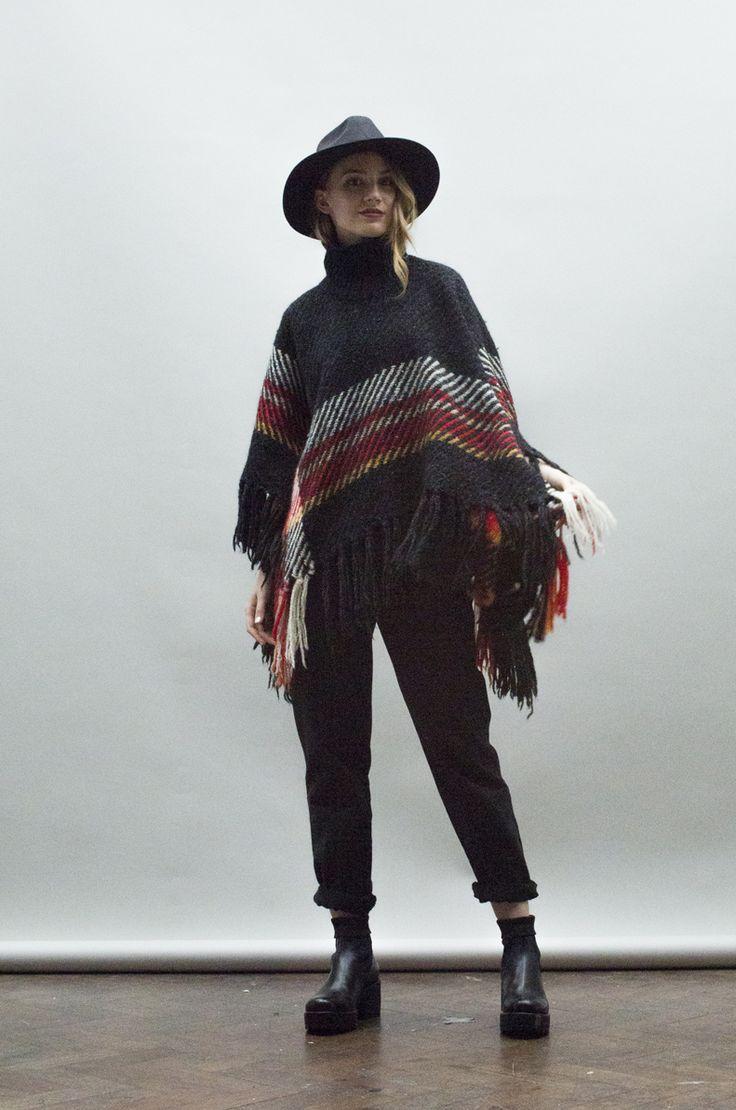 VINTAGE TARTAN ROLL NECK WOOL PONCHO. http://www.nordicpoetry.co.uk/vintage-tartan-roll-neck-wool-poncho