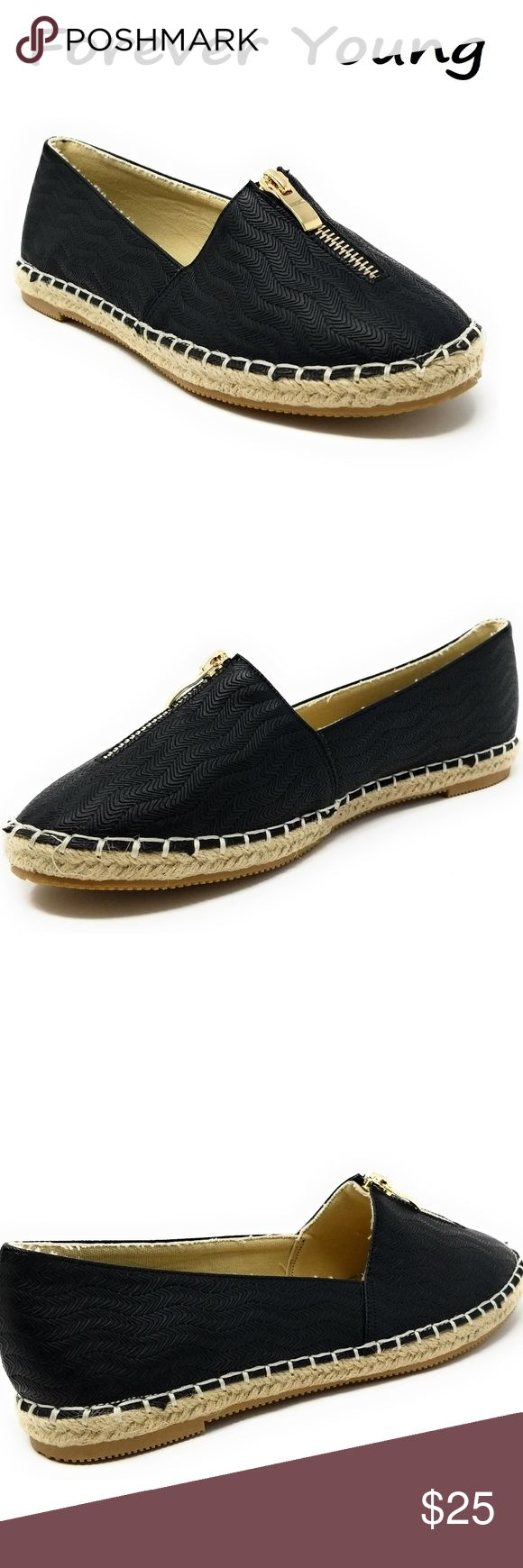 """Women Espadrille Zipper Flats, E-2607, Black Brand new Forever Young super popular stitched espadrille flats in gray with a decorative zipper along the top. Extra soft insoles. Textured rubber outer sole for traction. 100% man made.  Measurements: sizes 6 through 8 are true to size. Sizes 8.5 - 11 run small. Standard 3 inch width. Size 8 measures 9.5 inches, sz 8.5 = 9 3/4"""", sz 9 = 10"""", sz 10 = 10.5"""", size 11 fits a true size 9.5 wearer. A true statement in ladies shoes fashion! Forever…"""