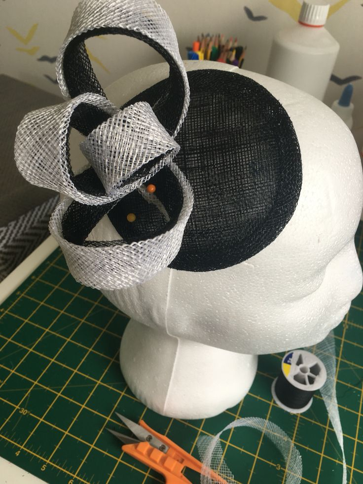 Millinery in progress, fascinator making, black and white fascinator