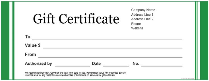 Create a Gift Certificate with These Free Microsoft Word Templates: Vertex42's Free Gift Certificate Templates
